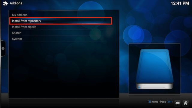 Install from Repository Kodi Addons
